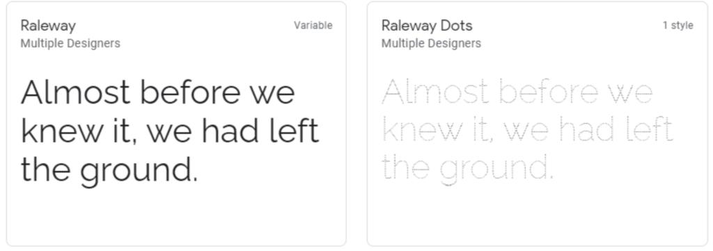 Raleway google web font