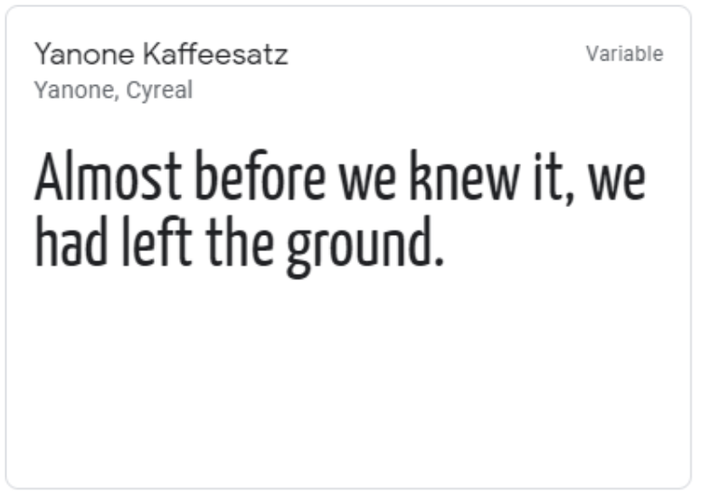 Yanone Kaffeesatz google web font
