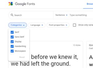 Schriftarten Wahl der Google Web Fonts