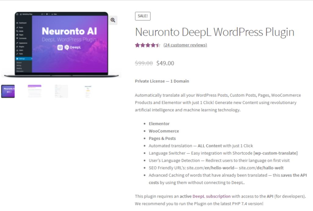 Screenshot Neuronto Shop WordPress Plugin