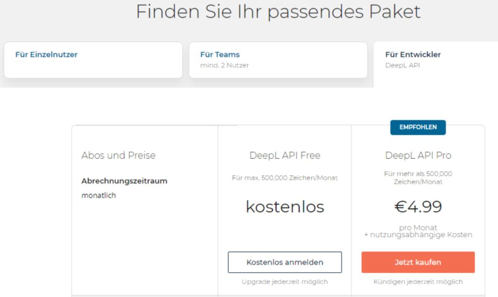 Screenshot DeepL API Abo