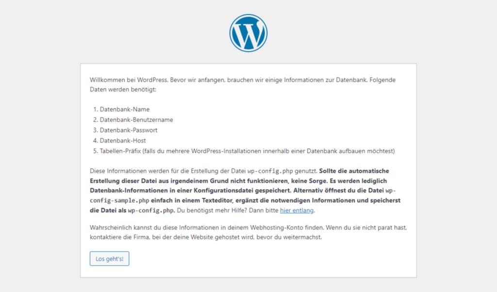 WordPress Installationsroutine Bildschirm 1