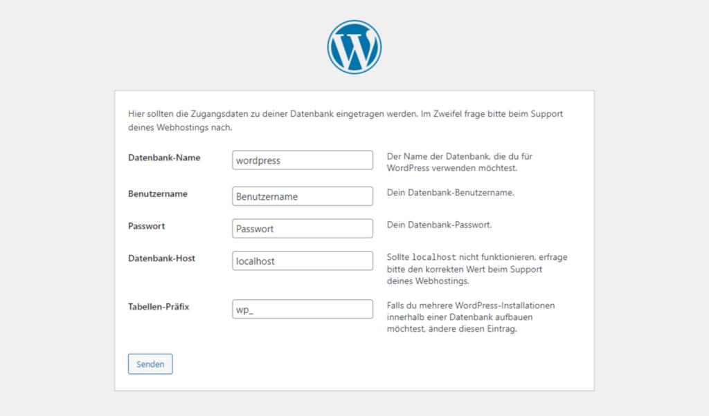WordPress Installationsroutine Bildschirm 2