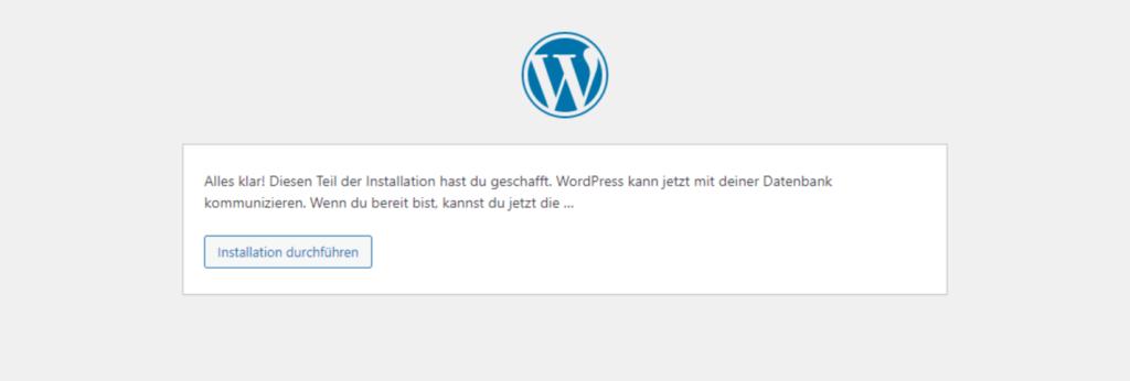 WordPress Installationsroutine Bildschirm 3