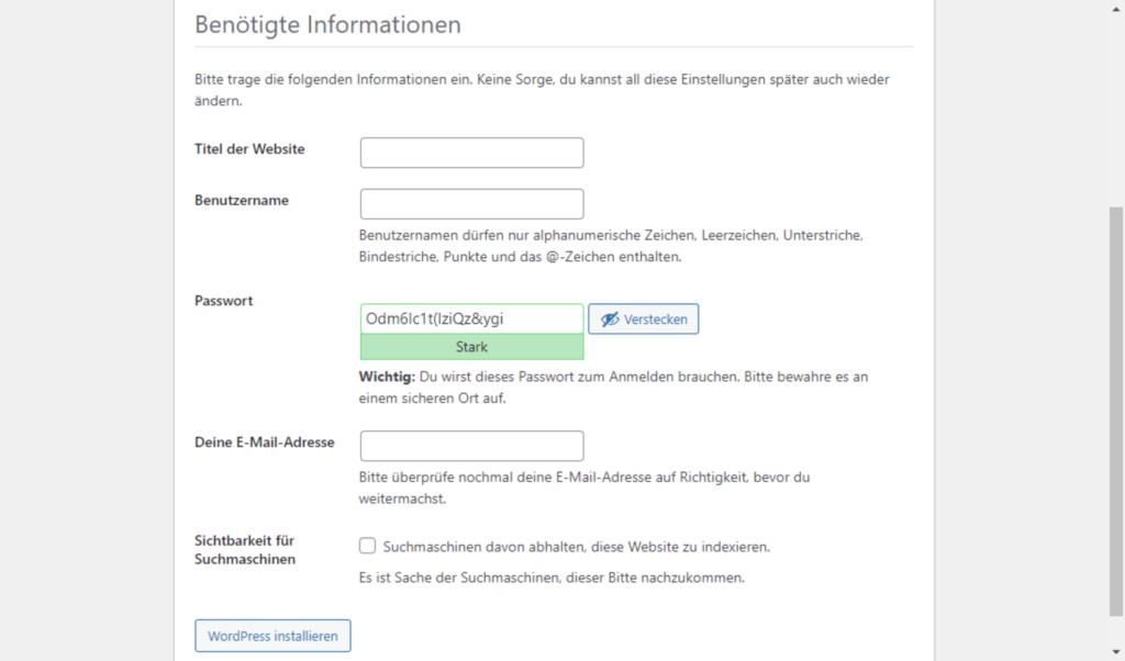 WordPress Installationsroutine Bildschirm 4