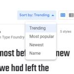 Kriterien zur Sortierung der Google Web Fonts