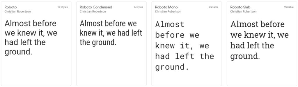 Roboto google web font