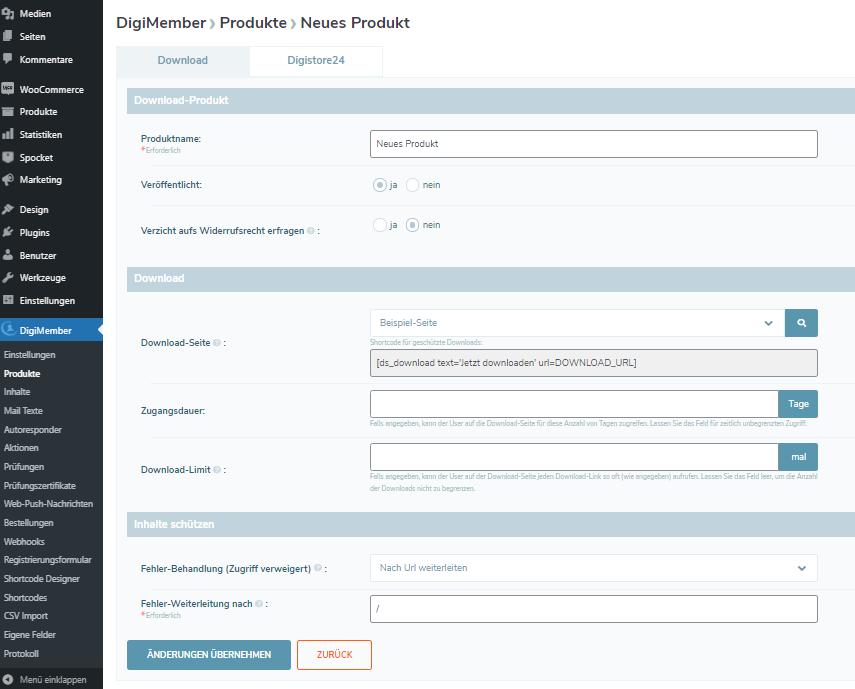 Anlegemaske für ein Download Produkt bei DigiMember 3.0