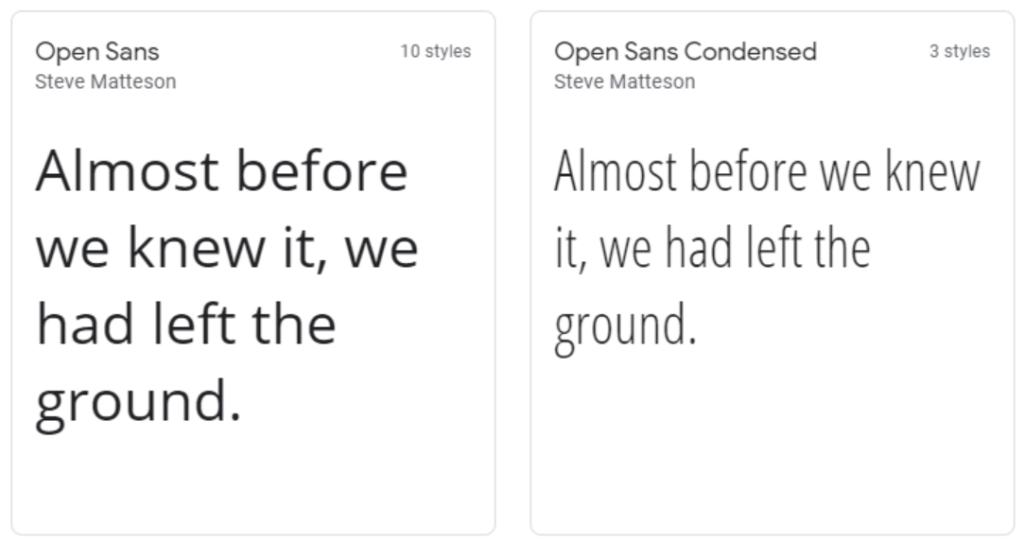 Open Sans google web font
