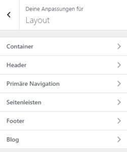 Layoutoptionen im Customizer von GeneratePress Fremium