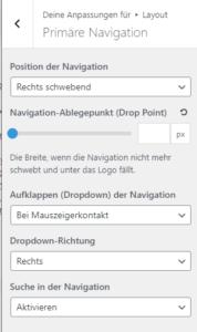 Layout / Primäre Navigation Einstellungen von GeneratePress Fremium