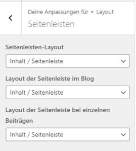 Layout / Seitenleisten Einstellungen von GeneratePress Freemium