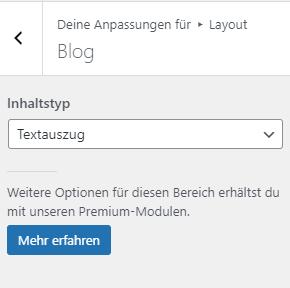 Layout / Blog Einstellungen von GeneratePress Freemium