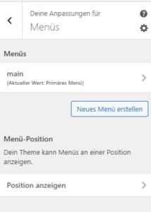 Navigation Einstellungen von GeneratePress Freemium