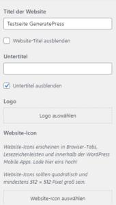 Auswahl zur Eingabe des Webseite Namens und Upload des Logos
